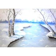 Мастер - Класс по живописи акриловыми красками Зимний Пейзаж